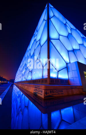 Water Cube - A vertical wide-angle night view of Beijing National Aquatics Center, also known as Water Cube, at - Stockfoto