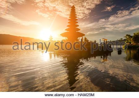 Pura Ulun Danu Bratan, Hindu temple on  lake landscape, - Stock Photo