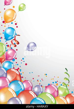 Vector festive Balloons card and colorful confetti - Stock Photo