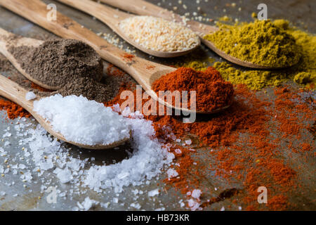 spices in wooden spoons - Stock Photo