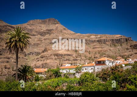 Beautiful small town of Fataga in Gran Canaria, Canary Islands, Spain - Stock Photo