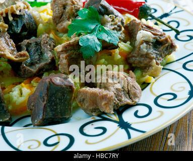 traditional plov  uzbek rice dish served at the plov