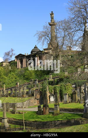 Old graveyard in Glasgow, Scotland, UK - Stock Photo