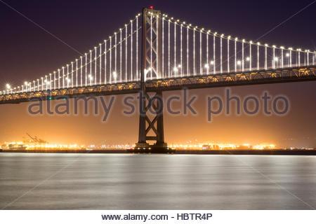 San Francisco-Oakland Bay Bridge, Night - Stock Photo