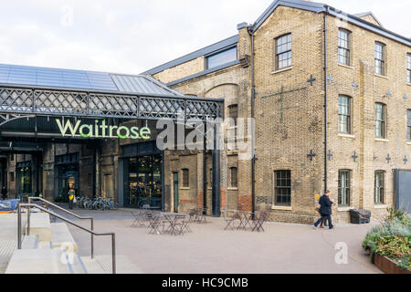 Waitrose supermarket in converted buildings at Granary Square, King's Cross, London. - Stock Photo