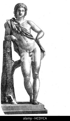 a young Faunus, in ancient Roman religion and myth, Faunus was the horned god of the forest, plains and fields, - Stock Photo