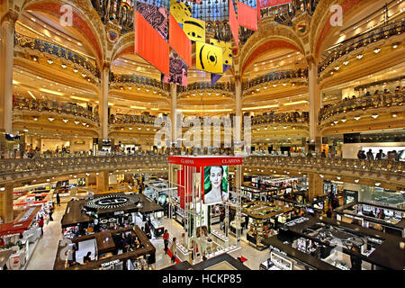 paris france french department store family window shopping stock