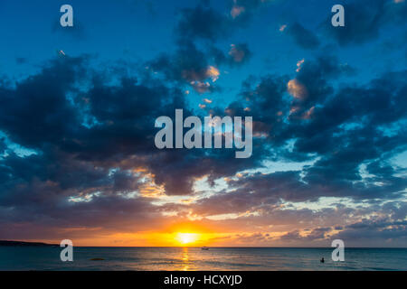 Sunset on Seven Mile Beach, Negril, Jamaica, West Indies, Caribbean - Stock Photo