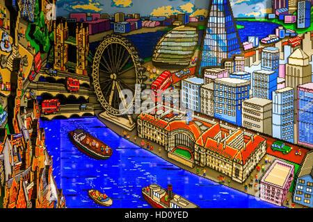 London, UK - November 22, 2016 - Landmarks Built From LEGO Bricks, displayed in the world's largest LEGO store - Stock Photo