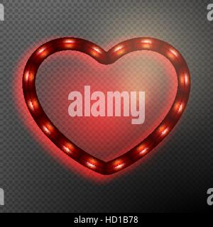 Valentine s Day neon heart. EPS 10 - Stock Photo