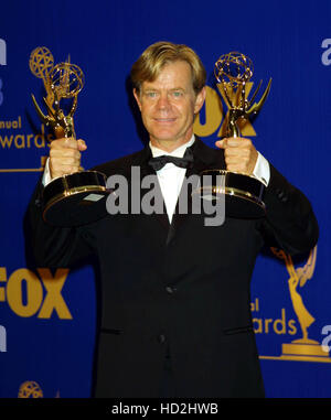 Actor William H. Macy holds up his Emmys he won for outstanding lead actor in a movie and outstanding writing in - Stock Photo