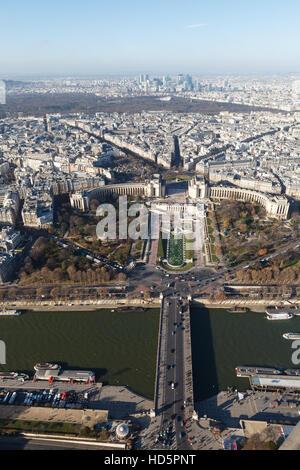 View of Paris from Eiffel Tower, Jardins du Trocadero, Pont d'lena, Seine river - Stock Photo