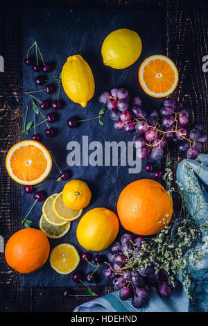 orange lemon grape cherry fruit berry season - Stock Photo