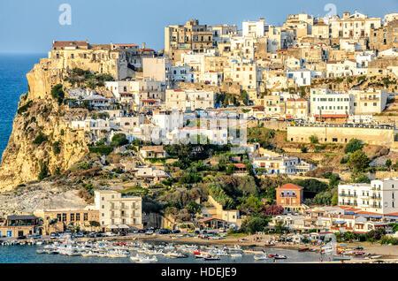 peschici gargano italy apulia sea perched village - Stock Photo