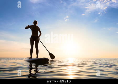 Girl stand up paddle boarding (sup) on quiet sea at sunset - Stock Photo