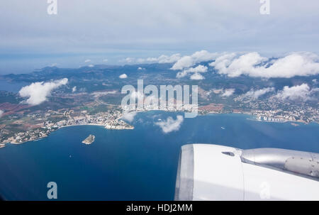 Aerial view over Palma bay on a sunny day in October in Palma de Mallorca, Balearic islands, Spain. - Stock Photo