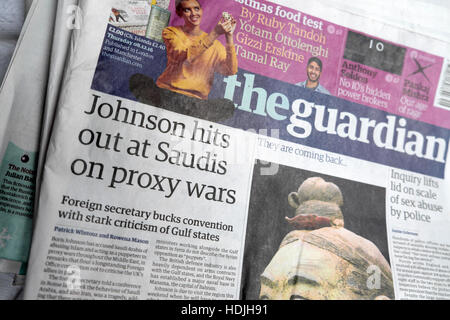 Boris Johnson hits out at Saudis on proxy wars Guardian newspaper headline front page article 2016 London England - Stock Photo