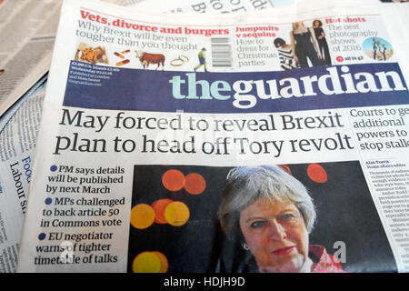 Theresa May forced to reveal Brexit plan to head off Tory revolt'  newspaper headlines front page article 2016 London - Stock Photo
