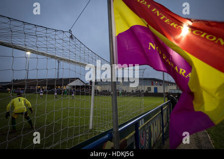 A club flag flutters as the first-half action goes on at the Delta Taxis Stadium, Bootle, Merseyside as City of - Stock Photo
