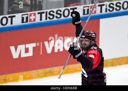 Prague, Czech Republic. 13th Dec, 2016. Petr Kumstat of Sparta celebrates a fourth goal during the Ice Hockey Champions - Stock Photo