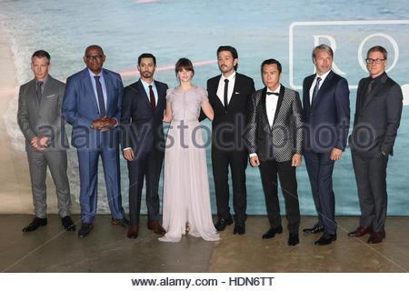 London, Uk. 13th Dec, 2016. Ben Mendelsohn, Forest Whitaker, Riz Ahmed, Felicity Jones, Diego Luna, Donnie Yen, - Stock Photo