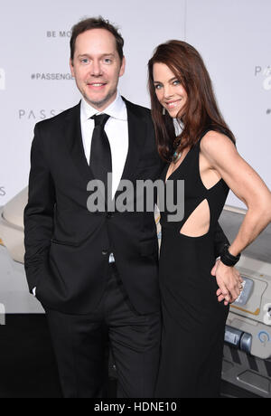Westwood, California, USA. 14th Dec, 2016. Jon Spaihts and Johanna Watts arrives for the premiere of the film 'Passengers' - Stock Photo