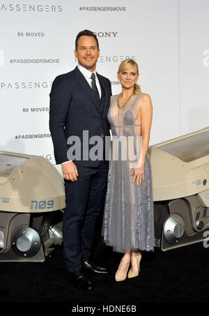 Westwood, USA. 14th Dec, 2016. Chris Pratt and Anna Faris at the Los Angeles premiere of 'Passengers' held at the - Stock Photo