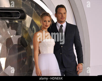Westwood, USA. 14th Dec, 2016. Jennifer Lawrence and Chris Pratt at the Los Angeles premiere of 'Passengers' held - Stock Photo