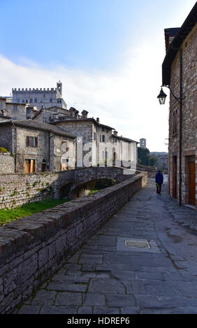 Gubbio Umbria Italy In Christmas Time In The Foreground The Church Stock Photo Royalty Free