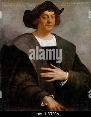 CHRISTOPHER COLUMBUS (c 1451-1506)  painted by Sebastiano del Piombo in 1519. Authenticity not certain but widely - Stock Photo