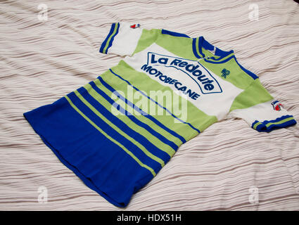 Cycling jersey of the French professional racing La Redoubte Motobecane - Stock Photo
