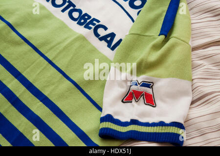 Cycling jersey of the French professional racing La Redoubte Motobecane detail - Stock Photo