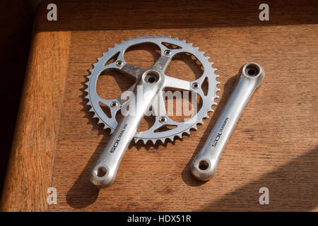 Shimano brand chainset with single chainwheel - Stock Photo