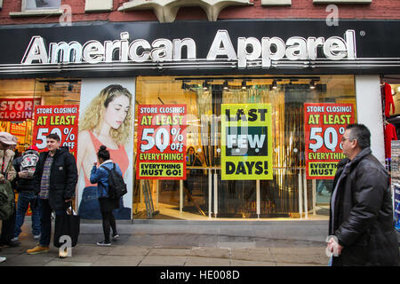 Oxford Street, London, UK. 15th Dec, 2016. American Apparel store on Oxford Street closing down. © Dinendra Haria/Alamy - Stock Photo