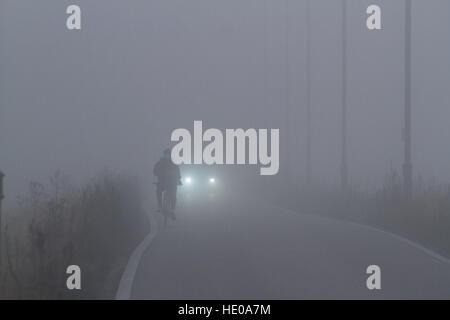 Wimbledon London, UK. 17th Dec, 2016. A cyclist rides on Wimbledon Common in dense fog © amer ghazzal/Alamy Live - Stock Photo