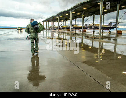 Maj. Thomas Hayes, a pilot with the 31st Test and Evaluation Squadron, a tenant unit Edwards Air Force Base, walks - Stockfoto