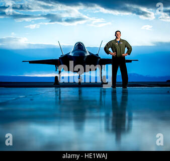 Maj. Ethan Sabin, a pilot with the 31st Test and Evaluation Squadron with 10 years experience flying the A-10, stands - Stock Photo