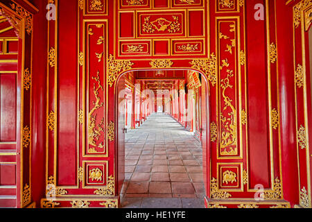 Open gallery in Can Thanh Palace (Emperor's Private Palace). Imperial City, Hue, Vietnam. - Stock Photo