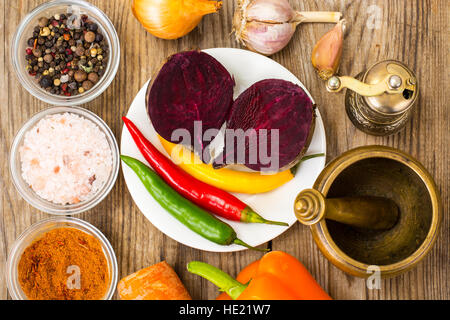 Vegetables and spices for cooking - Stock Photo