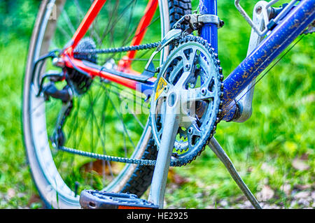 Closeup of mountain bike in the middle of country - Stock Photo