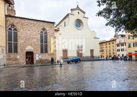 FLORENCE, ITALY - NOVEMBER 5, 2016: Basilica di Santo Spirito (Basilica of the Holy Spirit) on Piazza Santo Spirito - Stock Photo