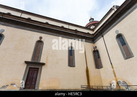 travel to Italy - walls of Basilica di Santo Spirito (Basilica of the Holy Spirit) in Florence city - Stock Photo