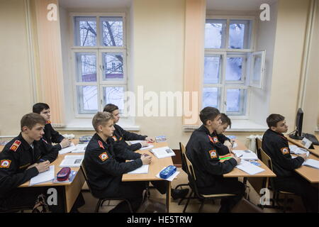 Omsk, Russia. 16th Dec, 2016. Cadets of the Omsk Cadet Corps attend a History lesson. © Dmitry Feoktistov/TASS/Alamy - Stock Photo