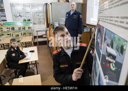 Omsk, Russia. 16th Dec, 2016. Cadets of the Omsk Cadet Corps attend a health and safety lesson. © Dmitry Feoktistov/TASS/Alamy - Stock Photo