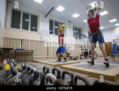 Omsk, Russia. 16th Dec, 2016. Cadets of the Omsk Cadet Corps working out in a gym. © Dmitry Feoktistov/TASS/Alamy - Stock Photo