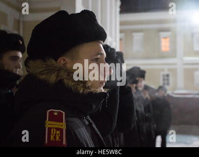 Omsk, Russia. 16th Dec, 2016. Cadets of the Omsk Cadet Corps on a parade ground. © Dmitry Feoktistov/TASS/Alamy - Stockfoto