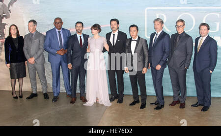 Dec 13, 2016  - (L-R) Producer Kathleen Kennedy, actors Ben Mendelsohn, Forest Whitaker, Riz Ahmed, Felicity Jones, - Stock Photo