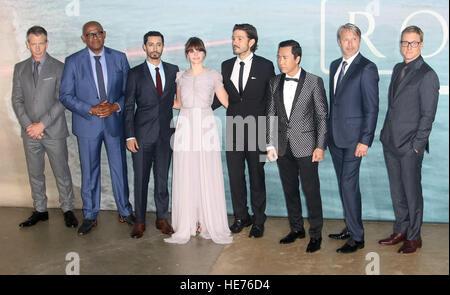 Dec 13, 2016  - (L-R) Actors Ben Mendelsohn, Forest Whitaker, Riz Ahmed, Felicity Jones, Diego Luna, Donnie Yen, - Stock Photo