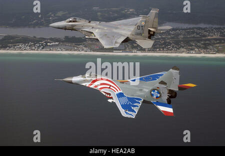 A dramatically painted Russian designed MiG-29 fighter flown by German Luftwaffer pilot Lieutenant Colonel (LCOL) - Stock Photo
