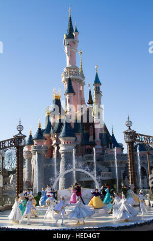 Royal Christmas wishes at Disneyland Paris Marne La Vallee France - Stock Photo